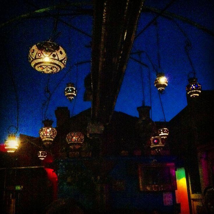 Lanterns on the roof at Bimbo's.