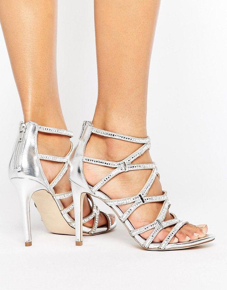 ALDO Liah Metallic Cage Heeled Sandals - Silver