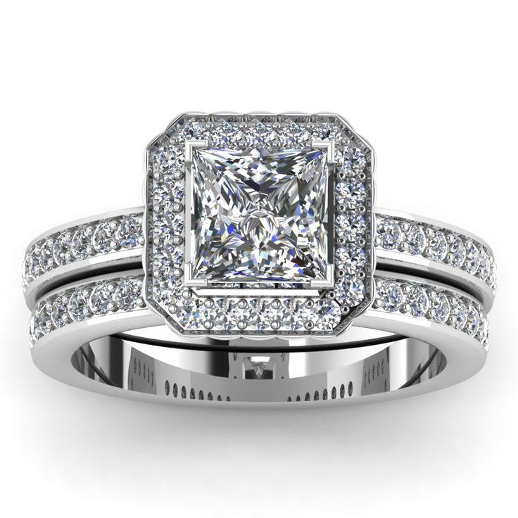 Fresh  Carat Engagement Ring with Diamonds in Platinum Square Wedding Rings