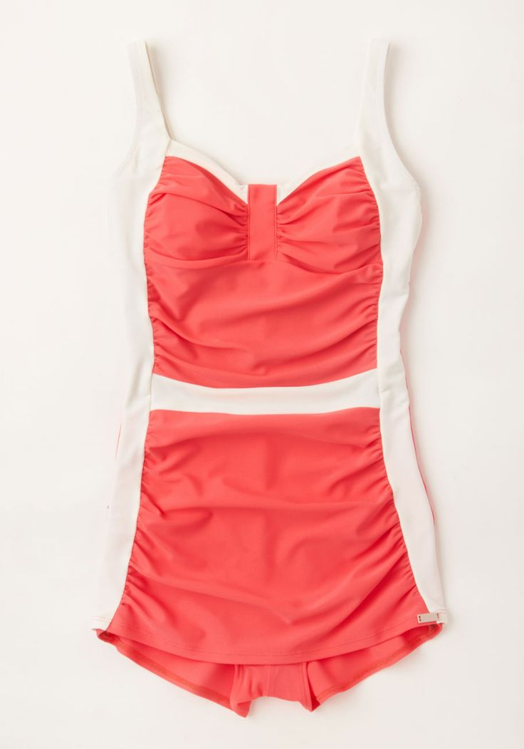 In Just a Splash One-Piece Swimsuit in Neon Coral