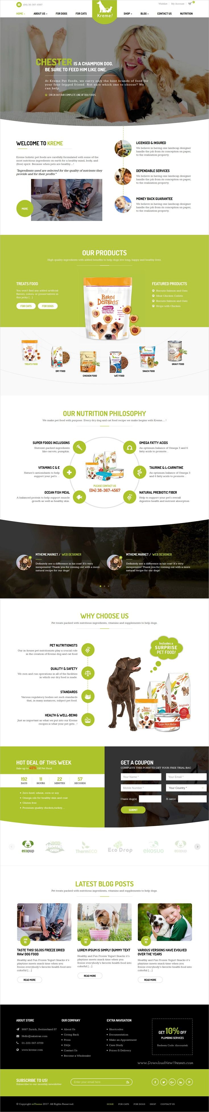 Kreme is a flexible flat & responsive #WordPress theme made specifically for #pet store owners website with 2 unique homepage layouts download now➩ https://themeforest.net/item/kreme-pet-shop/19337299?ref=Datasata