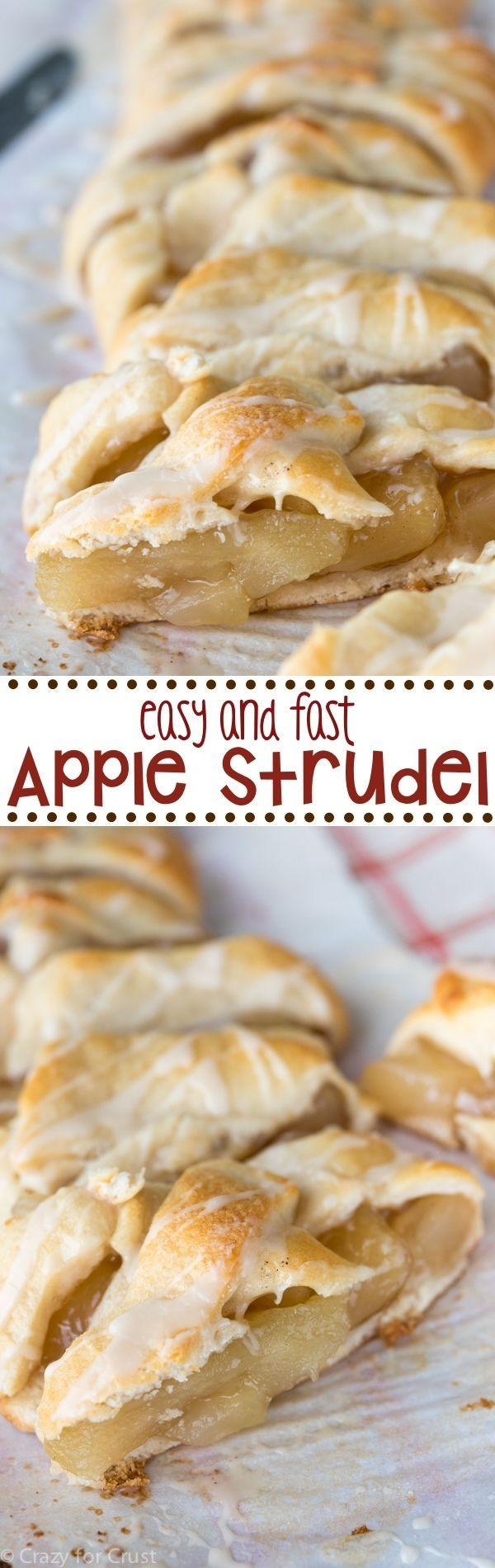 This easy and fast Apple Strudel recipe is so good! It makes the perfect breakfast or dessert! #dessert #recipes #sweet #treat #recipe