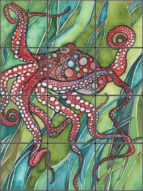 Red Octopus Backsplash Tile Mural | Pacifica Tile Art Studio
