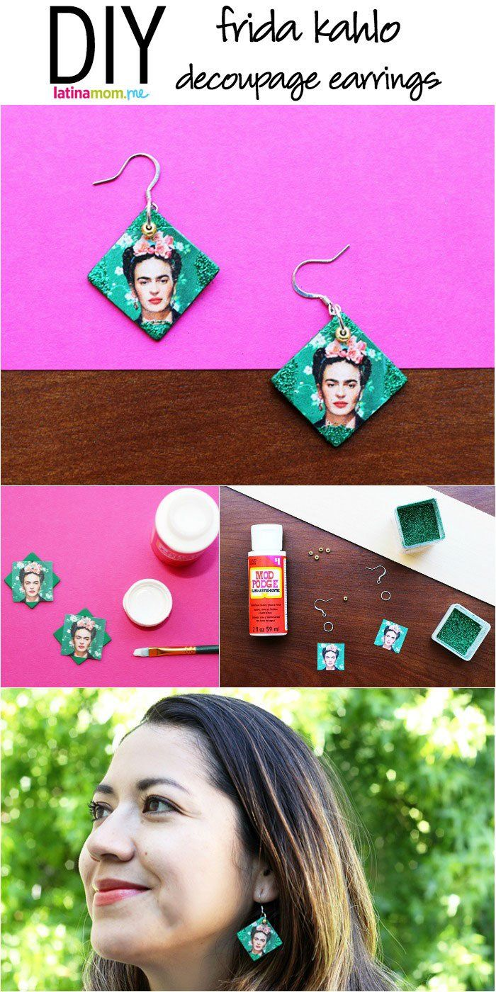 Pay homage to Frida Kahlo with these easy DIY decoupage earrings!