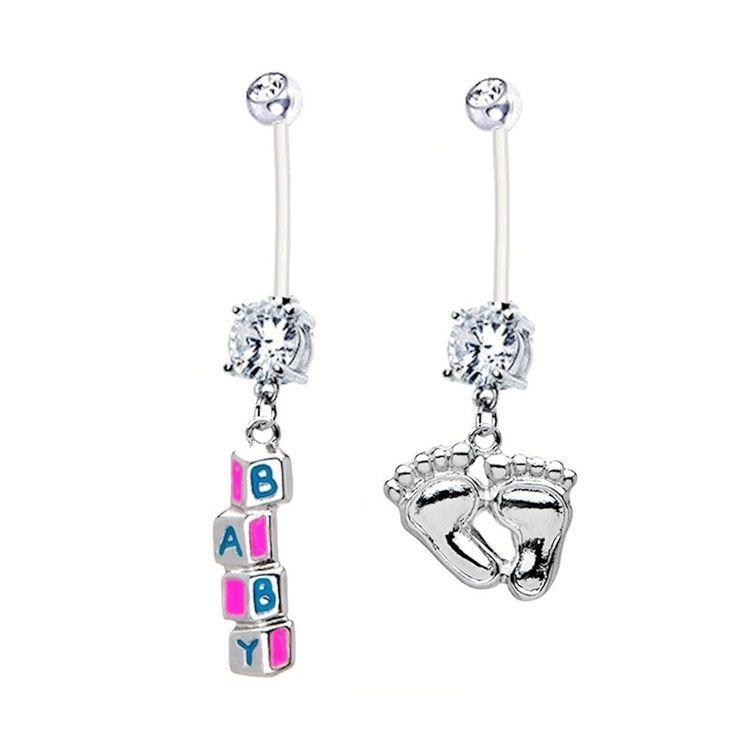 Pregnancy Belly Ring 2-pack BABY BLOCKS + FEET 14g BioFlex Maternity Jewelry #BodyBits