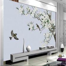 Grote custom wallpapers handgeschilderde bloem en vogel retro handgeschilderde achtergrond decoratie woonkamer slaapkamer schilderen(China (Mainland))