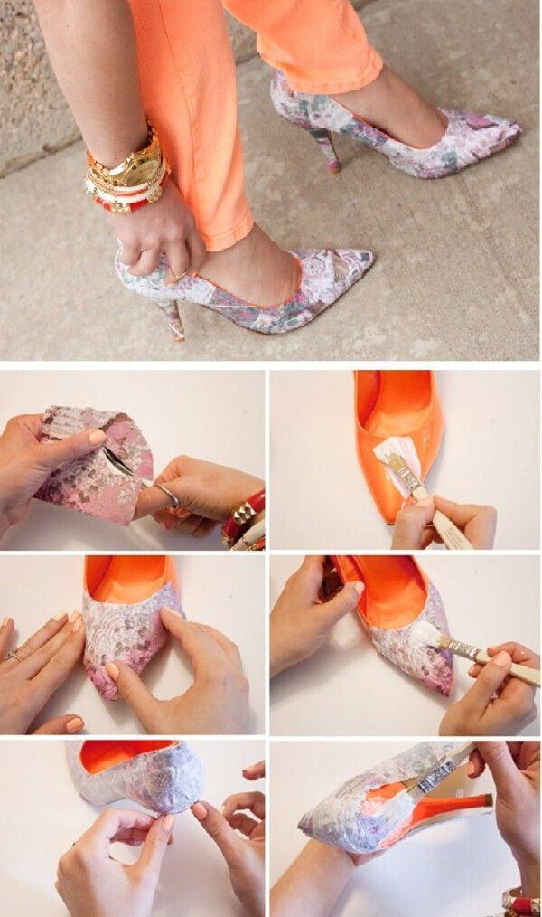 Old clothes and grab the fabric glue! - DIY Heels Ideas
