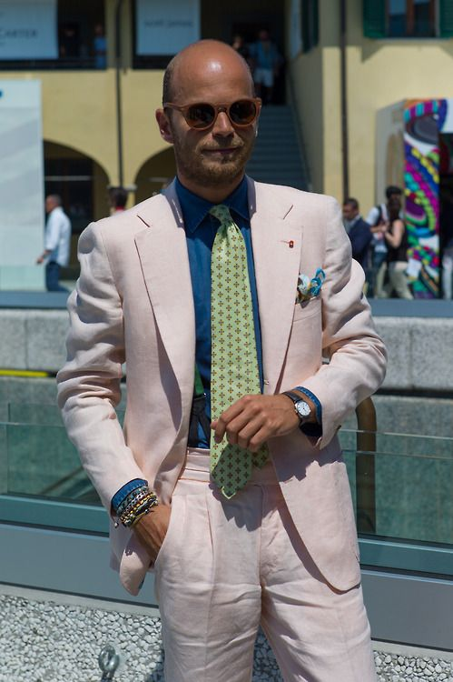 Luca Rubinacci in pale pastel pink tailoring at #Pitti in Florence