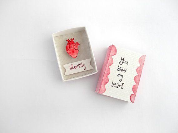 Anatomische hart kunst, matchbox kunst, vriendje cadeau, cadeau vriendin, papier kunst, je hebt mijn hart, de verjaardagsgift, liefde kaarten, letterlijke gift