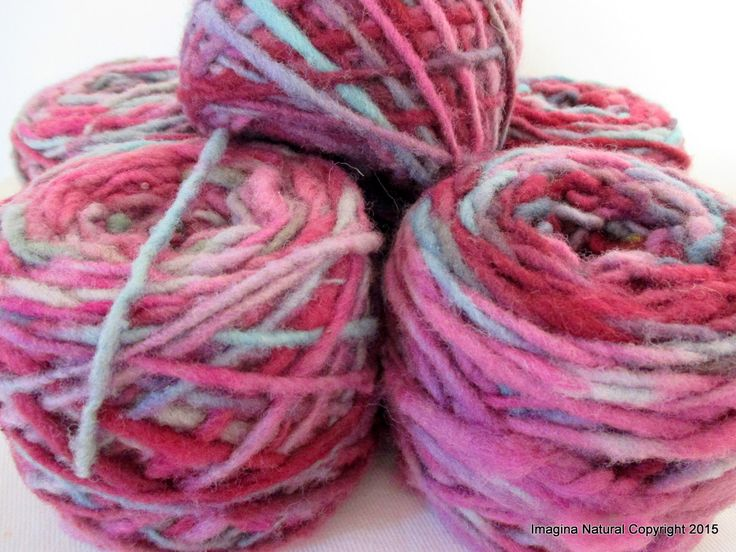 Limited Edition Handspun Hand dyed yarn Pure Bulky Chilean Wool Knitting Multicolour Araucania Chunky Skein Pink Lilac Blue Grey 100g 3.5oz by ImaginaNatural on Etsy