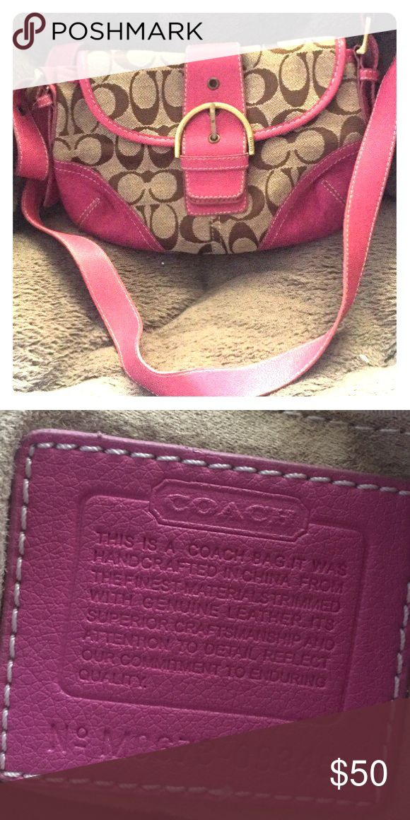Pink and brown coach purse Coach purse, like new condition Coach Bags Shoulder Bags