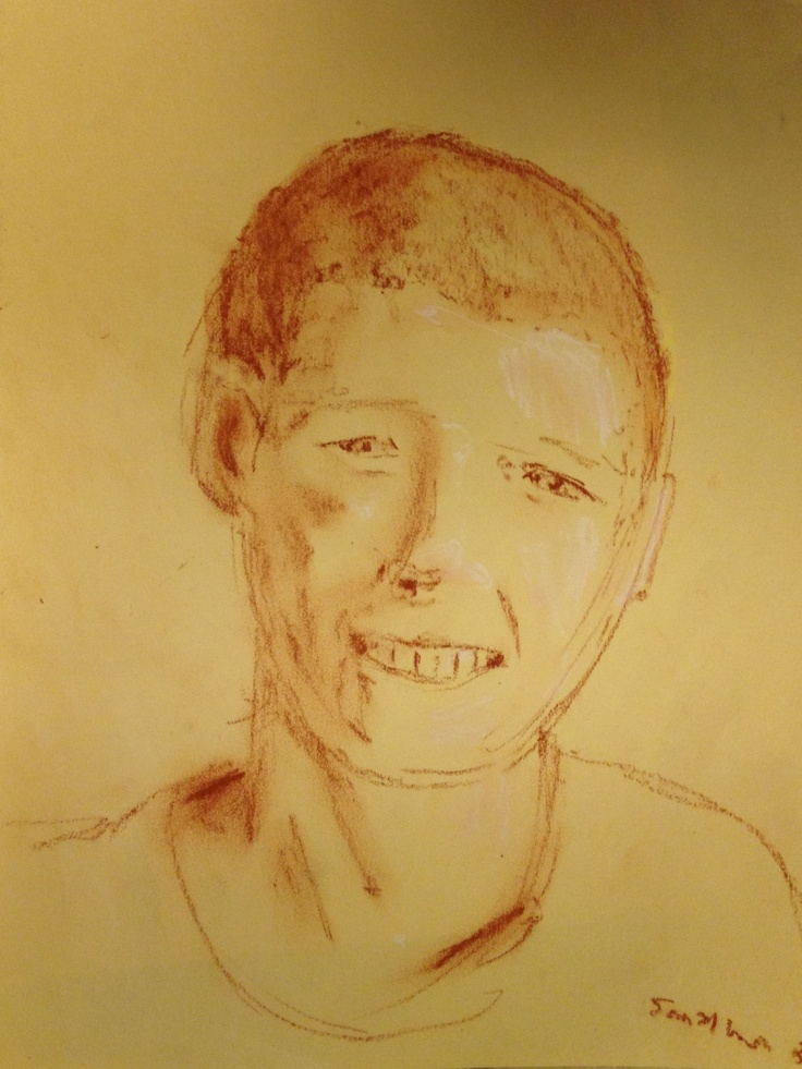 """""""Boy"""" by S. Lawson (c) 2012. conte and chalk. 9 x 12."""