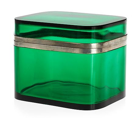 A Josef Frank green glass and pewter box by Svenskt Tenn