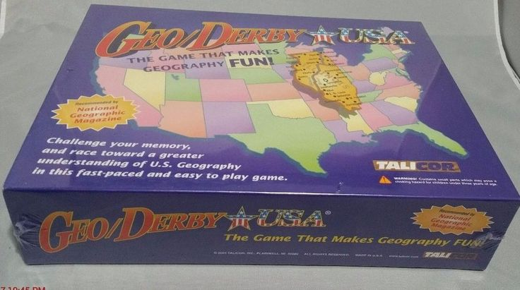 GeoDerby USA Game Geography Educational Teaching Board Game Talicor New #Talicor