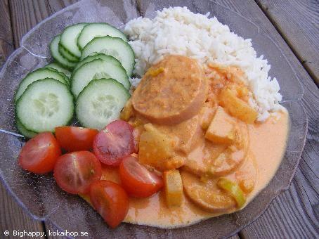 Recept - Currykorv med ananas
