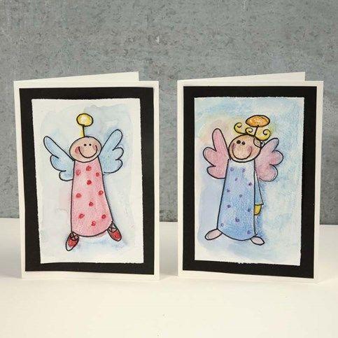 13187 Weihnachtliche Grusskarte mit Engel in Aquarell