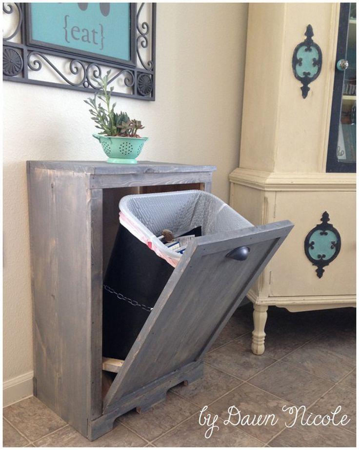 17 best ideas about trash bins on pinterest hidden trash - Diy tilt out hamper ...