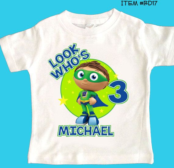 Superwhy Super Why any name age Birthday tshirt by maryahdesigns, $12.00