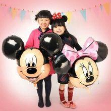 Calidad 1 unids historieta del papel de aluminio globos Minnie Mickey cabeza de globo de la boda la fiesta de cumpleaños globos suministros juguetes para niños(China (Mainland))