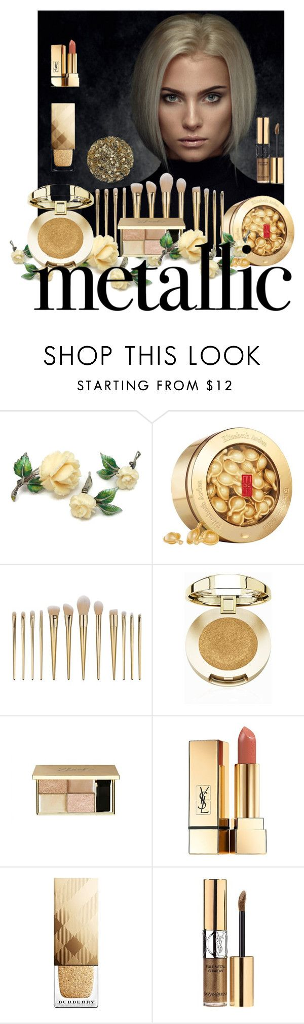 """Metallic Makeup"" by west-815 ❤ liked on Polyvore featuring beauty, Elizabeth Arden, Milani, Yves Saint Laurent, Burberry, Smith & Cult, gold, Beauty and metallicmakeup"