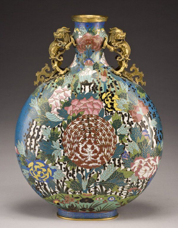 161: Chinese Qing dynasty cloisonne moon flask vase, : Lot 161