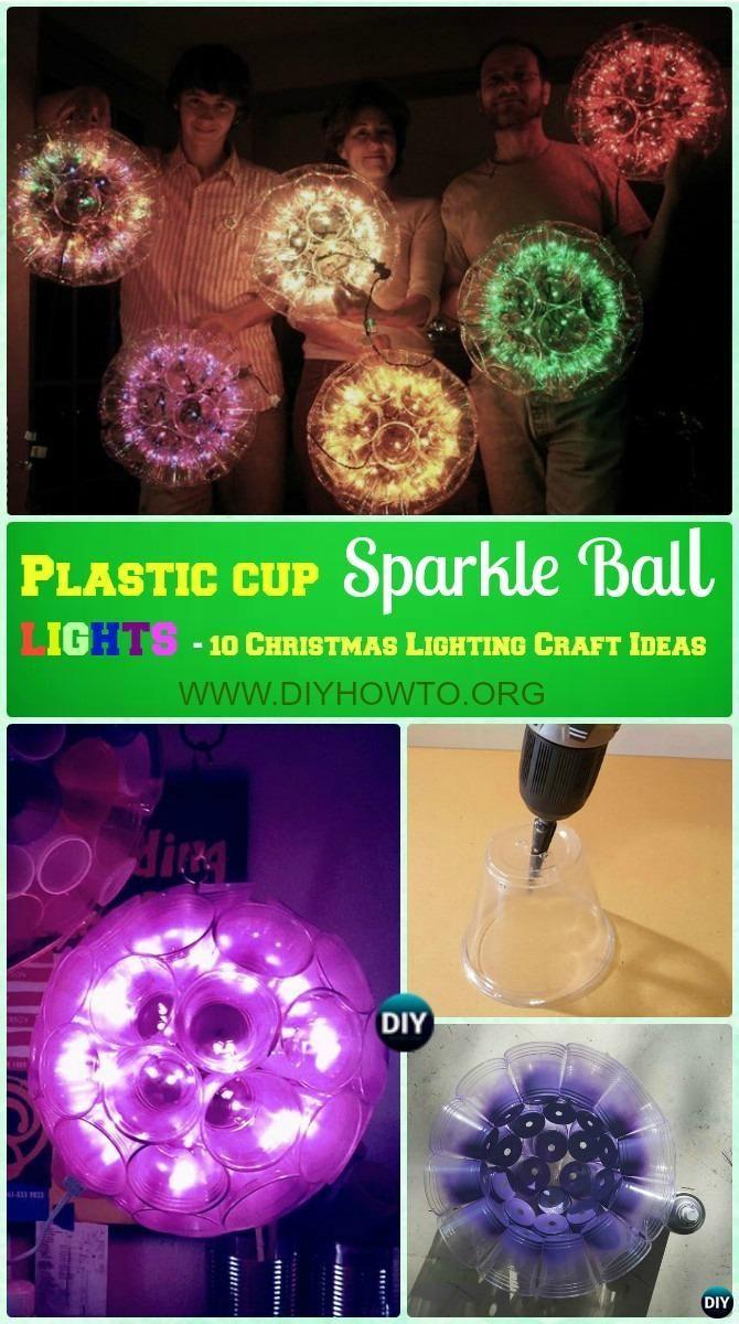 DIY Plastic Cup Sparkle Ball Lights Instruction -DIY #Christmas #Lights Ideas Crafts