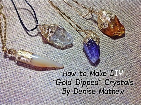 """How to Make a DIY """"Gold-Dipped"""" Crystal Pendants by Denise Mathew - YouTube about half way through she shows you how to use glue to secure a jump ring to stone"""