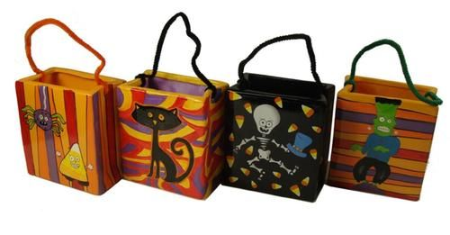 """Set of 4 Spooky Skeleton Cat and Frankenstein Ceramic Halloween Candy Bags 4.75"""""""""""