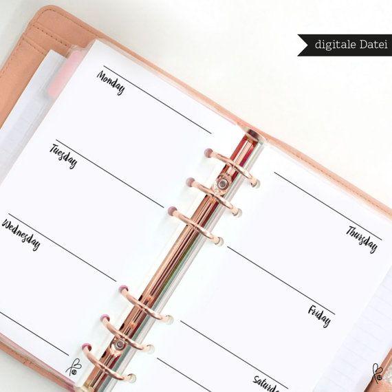 Filofax Einlagen / Wochenkalender Blanko / Filofax von sppiy