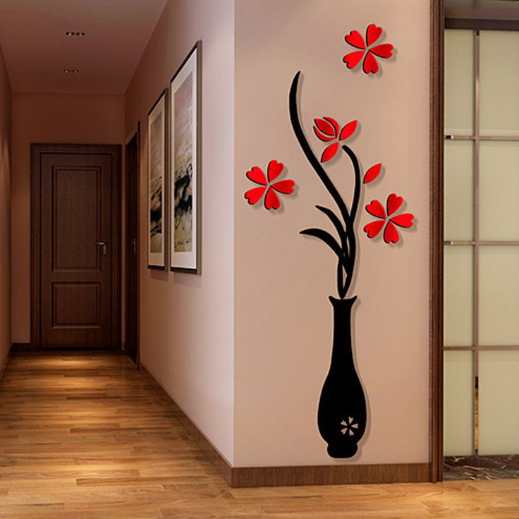 captivating living room wall art stickers | 3D Wall Sticker Decals, Outgeek Removable Flowering Plant ...