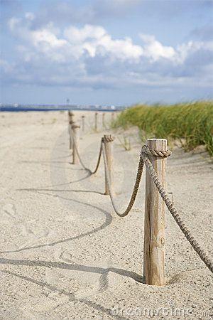 Rope Fence On Beach. Stock Image - Image: 2051611
