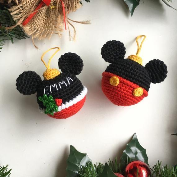 Disney Bauble Ball Mickey Mouse Christmas Ball Crochet Mickey Etsy Crochet Christmas Decorations Crochet Mickey Mouse Disney Baubles