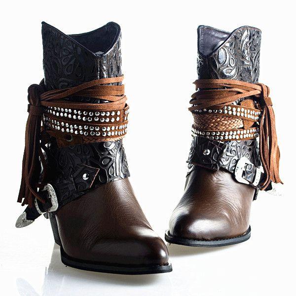 D\u0027origine de qualité supérieure boucle sophistiqué strass Rivets lacets  gland épais talons hauts Cowboy Martin cheville femmes hautes bottes(China