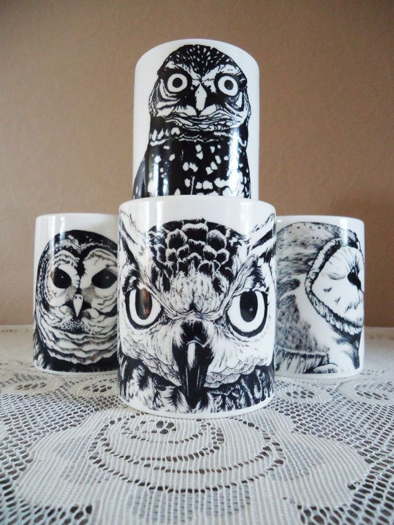 Set of Four Black Owl Mugs by Nightowlhandmade on Etsy, $36.00 ....just love these