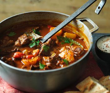 A main meal soup of paprika, tender beef and potatoes. Serve with soured cream.