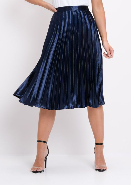 9090b40e8057 Pleated Satin Metallic Midi Skirt Navy Blue in 2019 | Style | Satin ...
