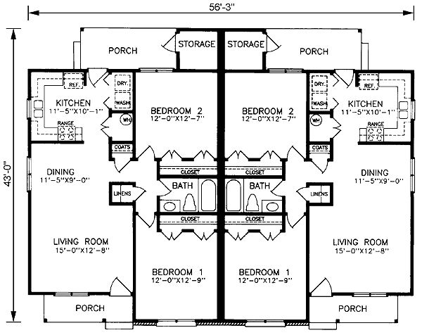 Level one of plan 45365 duplex pinterest duplex for Small duplex house plans