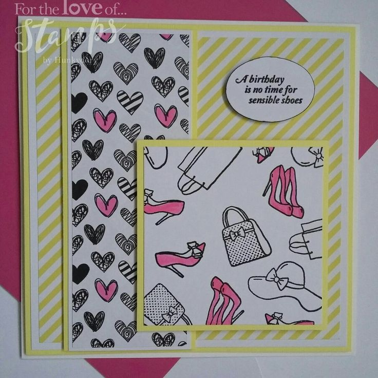 For The Love of Stamps Shop Til You Drop stamp set #fortheloveofstamps #hunkydorycrafts #shoptilyoudrop #stamping #stamps #shoes #handbags #kuretake #dtsample #cards #cardmaking