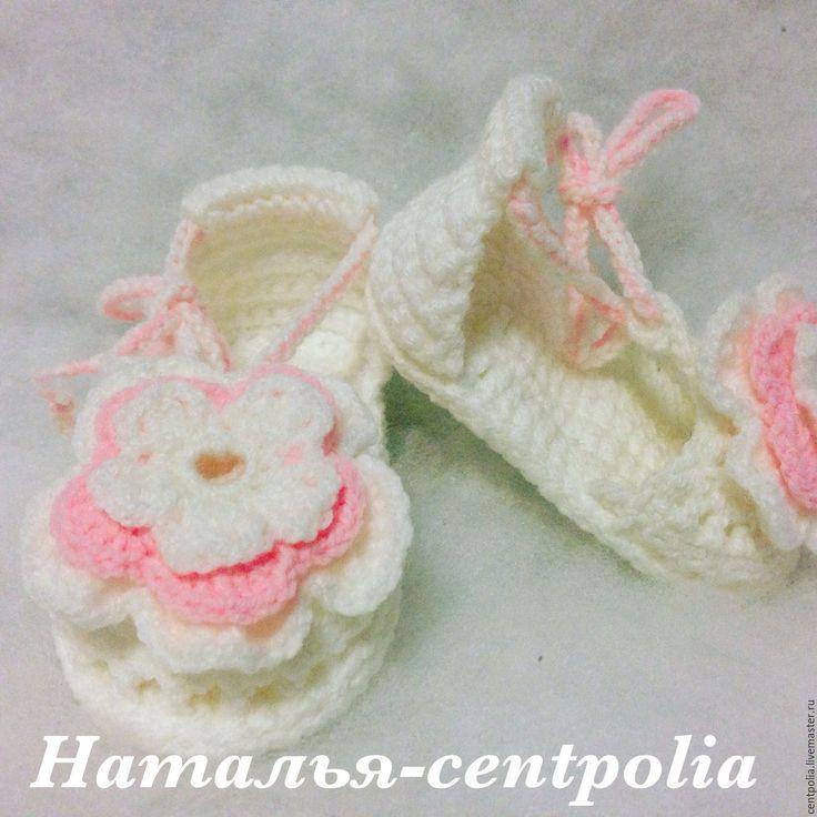 """Купить Пинетки сандалии """"Цветочек"""" - белый, однотонный, пинетки для новорожденных, пинетки для девочки, пинетки босоножки"""