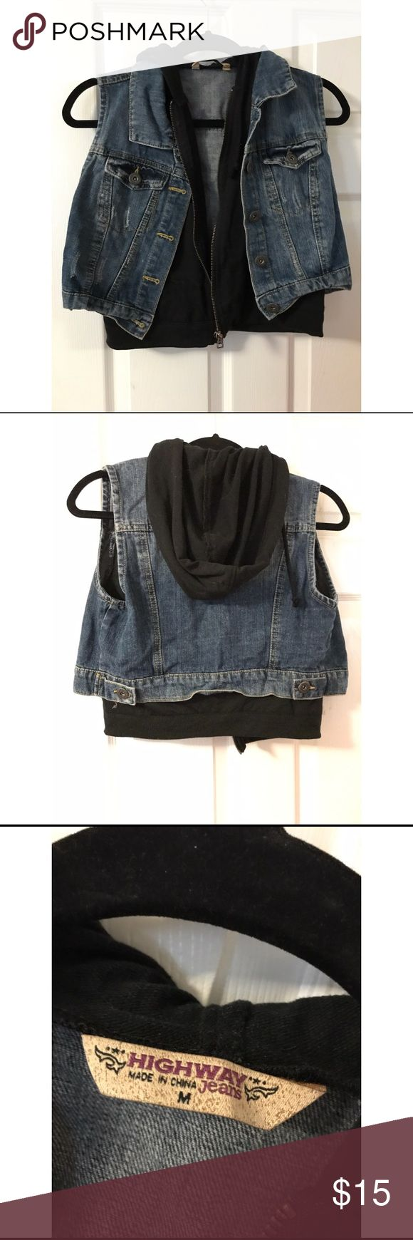 Sleeveless denim jacket Sleeveless denim jacket lined with a black light sweater with a hood. NWOT Jackets & Coats Vests