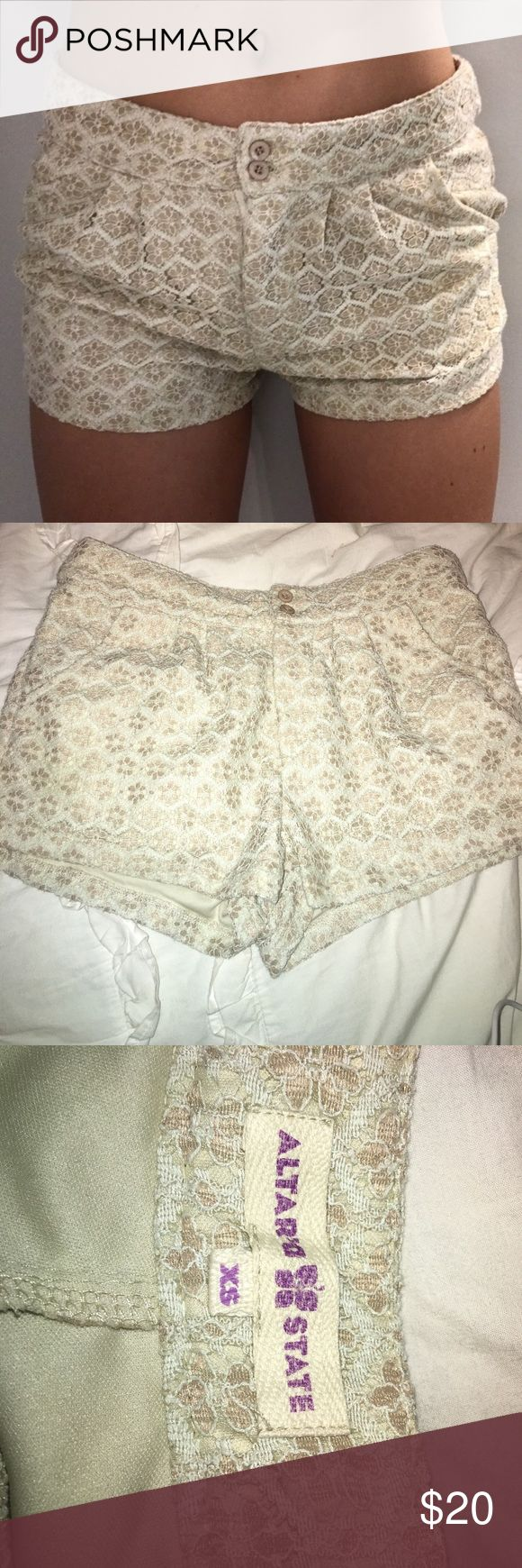 cream lace shorts cream lace shorts in perfect condition only worn once or twice!! Altar'd State Shorts