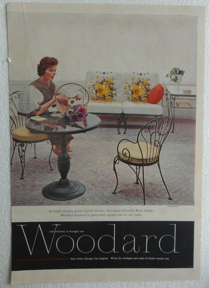 vintage 1960 ad print woodard style authority in wrought iron ap909 iron furnituregarden