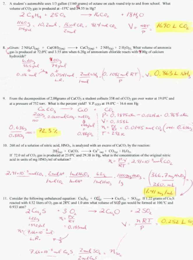 Gas Stoichiometry Worksheet Answers And Work and ...