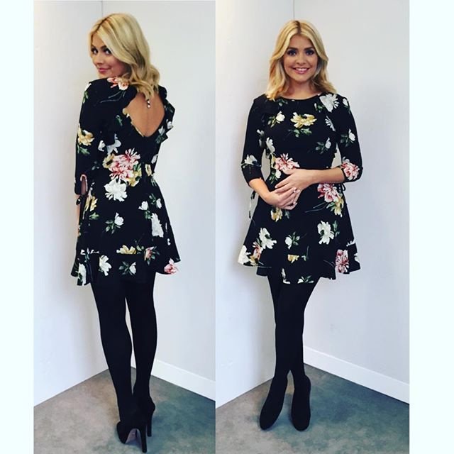 @hollywilloughby - Today's look on @thismorning ... dress by @topshop ❤️ shoes by @prada  and tights #coutureultimates #winterflorals xxx
