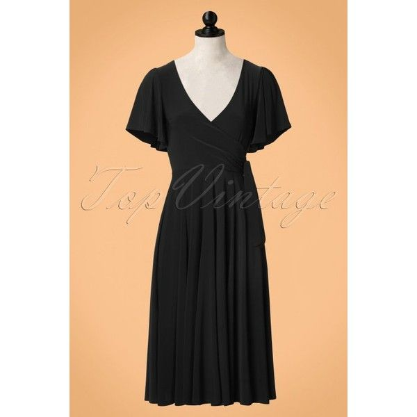 40s Lara Cross Over Swing Dress in Black ($71) ❤ liked on Polyvore featuring dresses, sexy stretch dress, surplice dresses, cross over dress, tent dresses and sexy dresses
