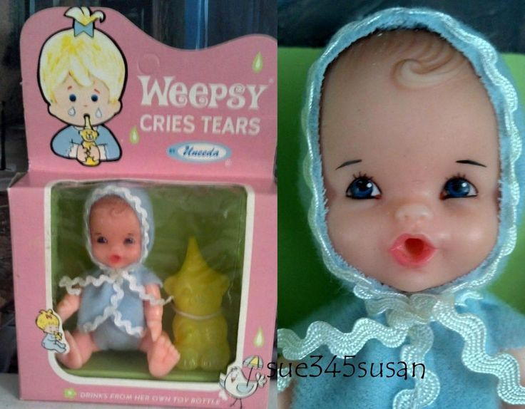 "Vintage Uneeda Doll Weepsy Cries Tears 4"" Doll British Crown Colony of Hong Kong 
