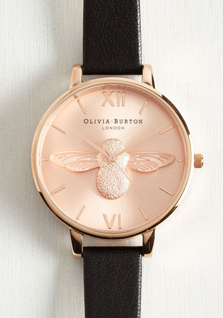Bee There in a Minute Watch in Rose. Your commitment to quickness is easily and elegantly upheld with this Moulded Bee watch by Olivia Burton! #pink #modcloth