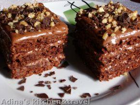 Reteta culinara Desert prajitura cu ciocolata si nuca din categoria Prajituri. Specific Romania. Cum sa faci Desert prajitura cu ciocolata si nuca