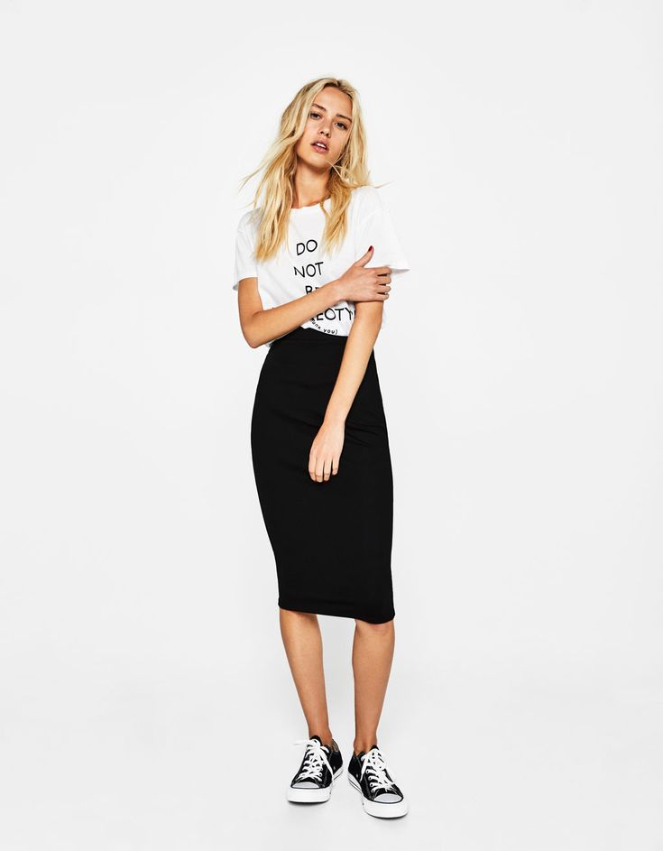 Fitted midi skirt. Discover this and many more items in Bershka with new products every week