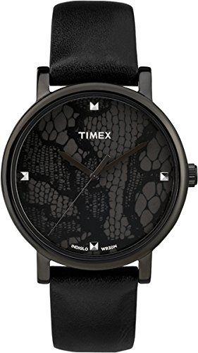 Timex - T2P461 - Montre Femme - Quartz Analogique - Cadran Noir - Bracelet Cuir Noir